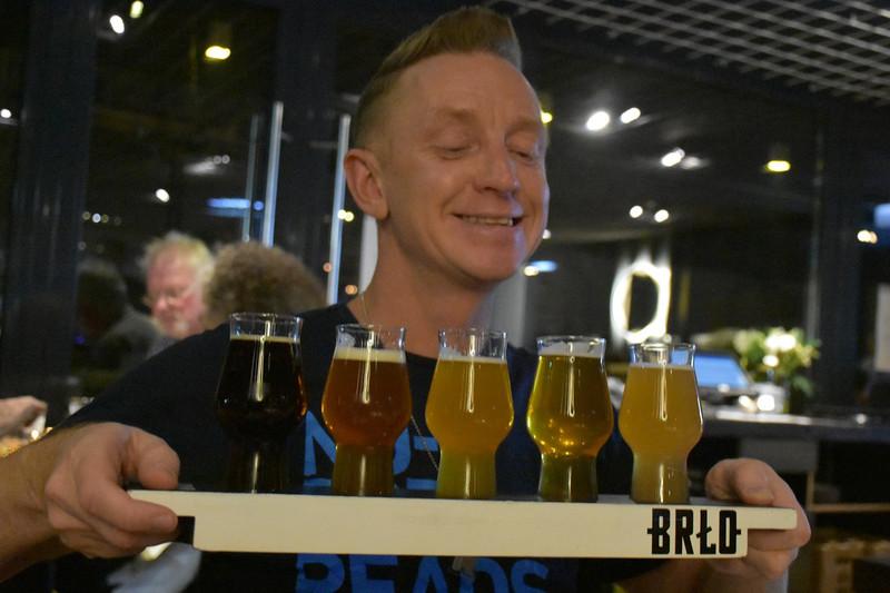 Gastro-Rallye guide Henrik Tidefjard presents flights of craft beer at the BRLO Brwhouse inBerlin, Germany.