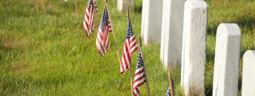 American Flags Near Gravestones at Arlington National Cemetery
