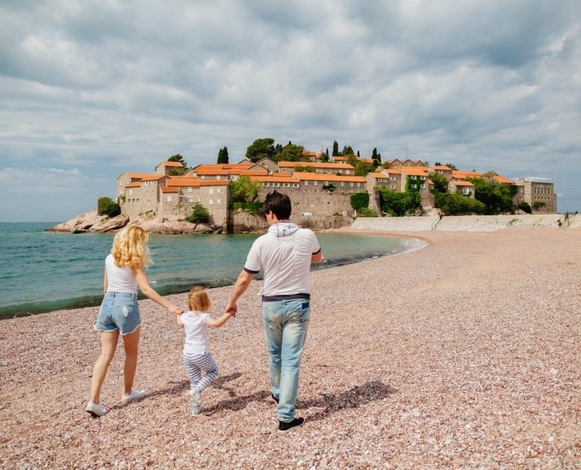 family travel beach resort in europe