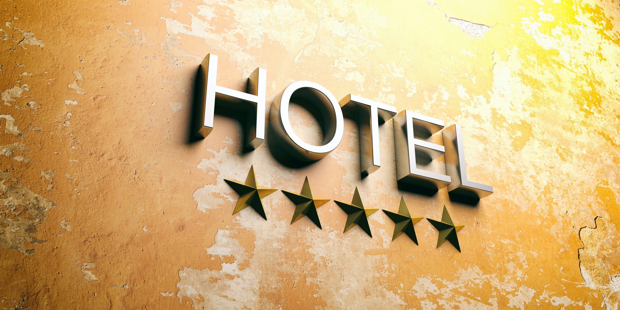 Hotel sign on stucco painted wall. 3d illustration