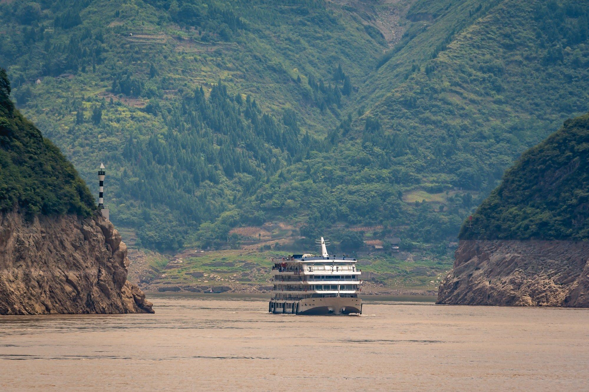 Luxury passenger cruise ship on Yangtze river