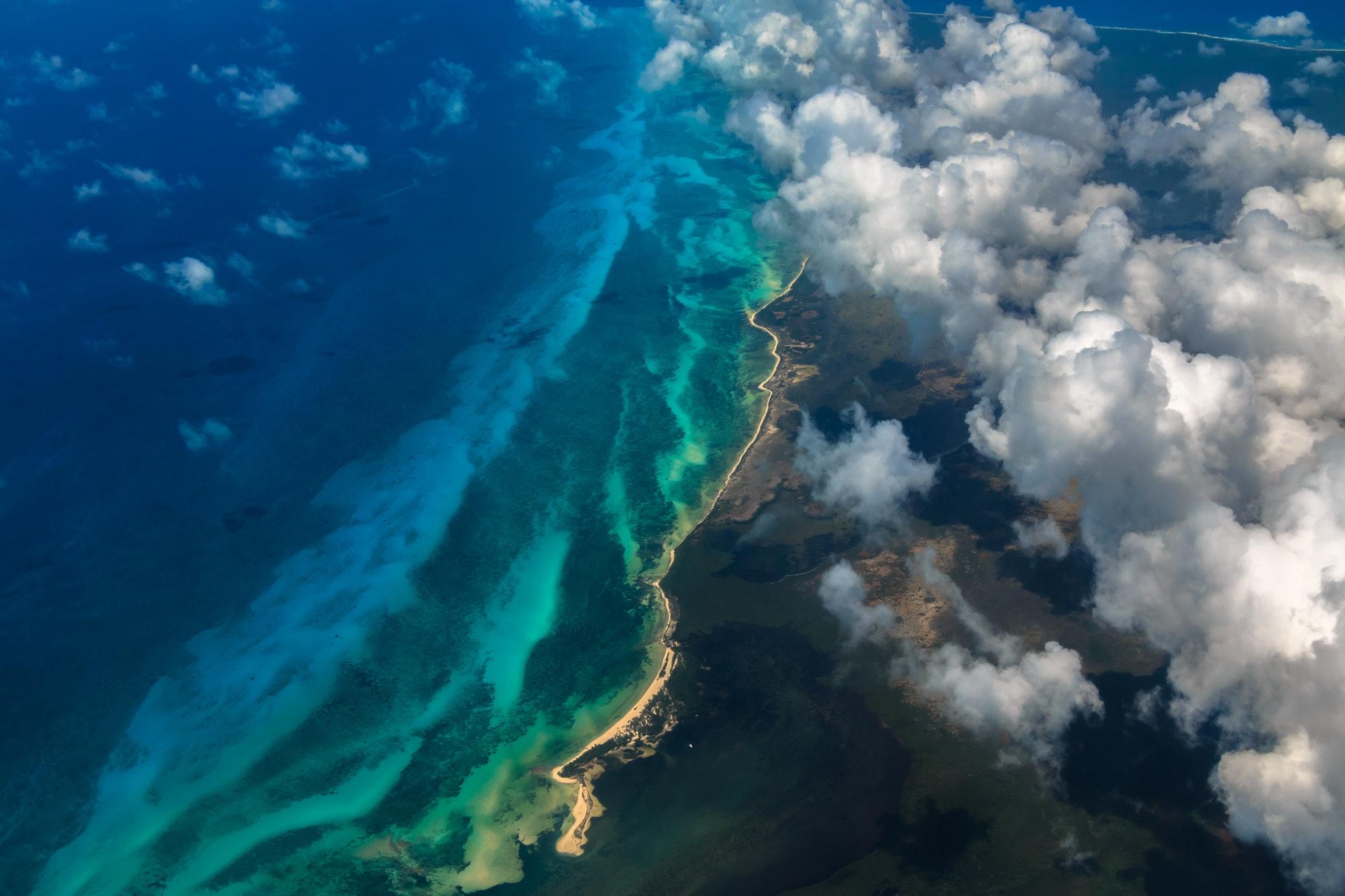 Flying over Cozumel