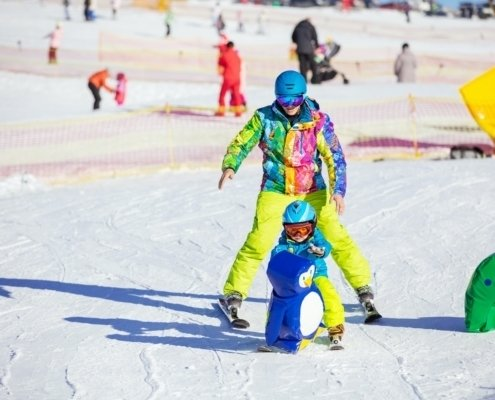 Father teaching little son to ski in children's area