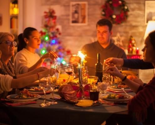 Happy family celebrating christmas holiday