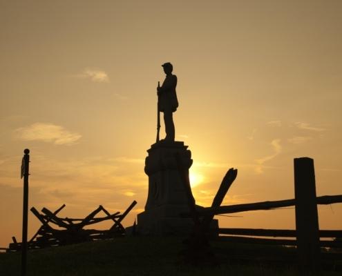 Silhouette of Civil War Soldier on Bloody Lane at Antietam National Battlefield